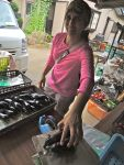 Roshni measures eggplants that were just picked from Ebara-san's fields. ロッシュニは江原さんが生産したナスを計っています。