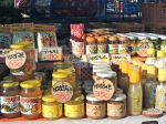 Yuzu-flavored products ranging from jelly to miso paste are sold at a roadside stand. 何でもかんでもゆず高知県にあります。